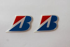 BRIDGESTONE 'B' stickers - Chrome Blue decals 2 x  HIGH Gloss Gel Finish 48mm