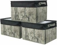 Storage Large Basket Set Rustic Tree Stump Print Rectangular Fabric Bin 3-Pack