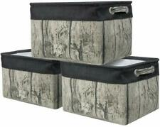 Large Storage Basket Rustic Tree Stump Print Rectangular Fabric Bin Box 3-Pack