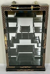 Vintage Chinoiserie Wall Mounted Raised Mother of Pearl Curio Display Cabinet