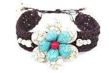 White & Blue Turquoise Flower Beaded Shamballa Brown Leather Woven Adj Bracelet
