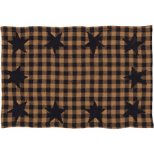 New Primitive Country Checked BLACK STAR CHECK PLACE MAT Table Candle Place Mat