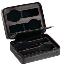 Diplomat Quad 4 Travel Watch Case Black Leather with Black Suede Zippered 31-468