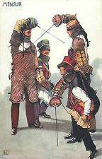 Studentika Mensur fencing academic school students fence lesson artist signed