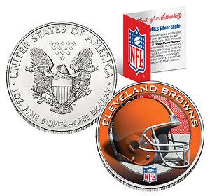 CLEVELAND BROWNS 1 Oz .999 Fine Silver American Eagle $1 Coin NFL LICENSED