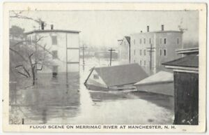 1936 Merrimac River Flooding in Manchester New Hampshire Flood Postcard