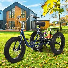 """20"""" Adult Tricke 1/7 Speed 3-Wheel Fat Tires Adult Tricycle w/ Basket & Tool US"""