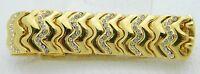 VTG Gold Tone Clear Rhinestone Zig Zag Clasp Bracelet