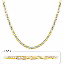 "4.20mm 26"" 14 gm 14k Gold Two Tone Men's White Pave Mariner Flat Necklace Chain"