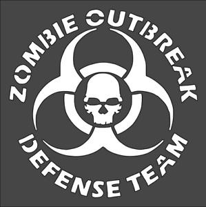 1- 5.5x5.5 inch Custom Cut Stencil, (VI-82) Zombie Outbreak Defense Team