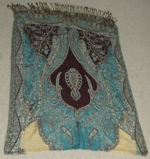 Indian Pattern Shawl Scarf Dupatta Stole Tassel MP Museum Embroidered w/ Beads