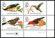 USA Sc. 3225a 32c Tropical Birds 1998 MNH plate block