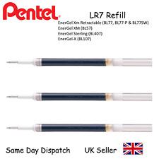3 x Pentel LR7 Energel Pen Refill 0.7mm Ball Metal Tip Black Ink