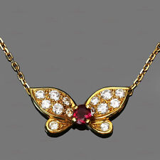 1990s VAN CLEEF & ARPELS Diamond Ruby 18k Yellow Gold Butterfly Necklace