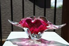 Vintage Venetian Murano Cranberry Art Glass Bowl / Cigarette Ashtray