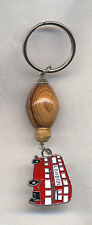 Great Handmade Wooden Bead Key Ring Fob Enamel London Double Decker Bus Charm