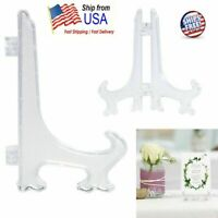 1pcs Clear display easel Stand Plate Photo Frame Pedestal Picture Holder folds