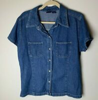 GAP Women's Shirt Size Large Top Snap Up Short Sleeves 100% Cotton Blue Casual