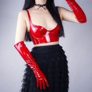 Shine Red Gloves Faux Patent Leather Extra Long 50cm Cosplay Costume Wedding