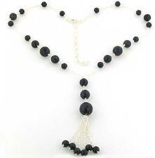 Negro Onyx facetado del grano collar conjunto En Plata Esterlina