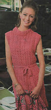 Vintage Crochet Pattern Lady's Dress. 34 to 38 inch Bust.