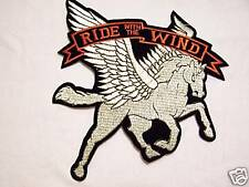 #0916-M MOTORCYCLE VEST PATCH PEGASUS RIDE WITH THE WIND
