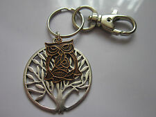 Key chain ring antiqued silver  tree of life owl pendant charm gift  accessory