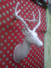 Large Metal Wall Mounted Stag Head Deer Buck Sculpture Off White .,