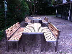 Gartenmöbel Edelstahl Lärche :Tisch 80x200cm, 2 Bänke mit Lehne,