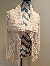 CAbi Women's Size Medium White Cable Sweater Open Front Style #193 Never worn!