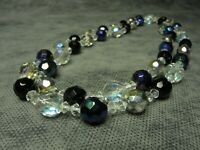Vintage Bohemian Aurora Borealis, Iridescent & Clear Faceted Glass Bead Necklace