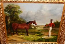 HORSE TRAINER ORIGINAL OIL ON CANVAS LANDSCAPE PAINTING