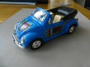 Large Die Cast Model Blue Volkswagen Beetle Both Doors and Bonnet Open