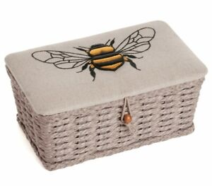 SEWING BASKET BOX 'LINEN BEE' DESIGN Extra Small SUPER QUALITY