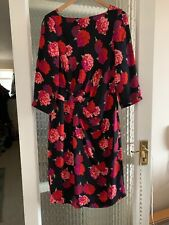 JAEGER FLORAL SILK DRESS SIZE UK 12 IN VERY GOOD CONDITION