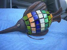 """Fish Sculpture Mosaic Glass Tiles Metal Colorful  Unique 18"""" Long"""