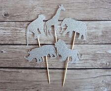 10x Safari Animals Cupcake Toppers - Silver Elephant, Lion, Giraffe Jungle Cake