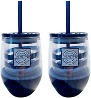 Navy Blue Stripe Travel Tumbler Cup with Lid and Straw, 10 Ounce, Pack of 2