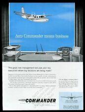 1958 Aero Comandante Negocios Avión Vintage Estampado Anuncio