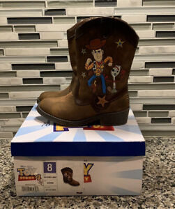 New Disney Pixar Toy Story 4 Woody Brown Western Boots Cowboy, Toddler Size 8