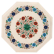 "15""x15"" Marble Handmade Semi Precious Stone Inlay Floral Craft Work Table Top"