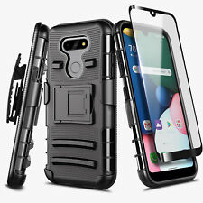 For LG Phoenix 5 Case Belt Clip Kickstand Phone Cover + Tempered Glass Protector