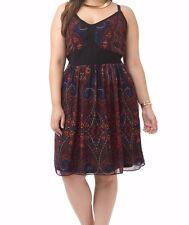 City Chic Chiffon Overlay Paisley Rose A Line Dress Size XS