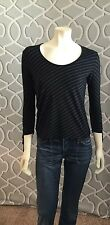 BANANA REPUBLIC Black White Striped 3/4 Sleeve Scoop Neck Knit Top Small Euc