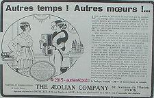 PUBLICITE PIANOLA PIANO THE AEOLIAN COMPANY MUSIQUE DE 1914 FRENCH AD ART DECO