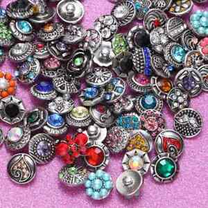 100pcs/lot Mixed Rhinestone Styles 12mm Ginger Snap Button Fit 12mm Snap Jewelry