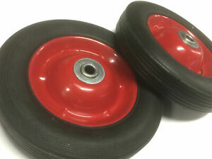 """PAIR 8""""Hand Trolley Wheel Wheels Tyre Rim 12 mm Bore Puncture Proof Solid Rubber"""