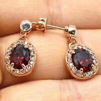 4Ct Pear Cut Red Garnet Halo Drop/Dangle Earrings Hook 14K Rose Gold Finish