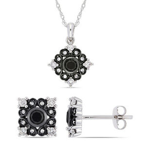Amour 10k White Gold Black Rhodium Black & White Diamond Bohemian Jewelry Set
