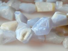 Natural Gemstone Crystal Teeth Chalcedony Beads Nutural Blue Color #2015